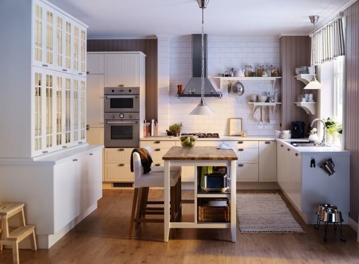 wohnideen küche weiße eckküche und teppichläufer
