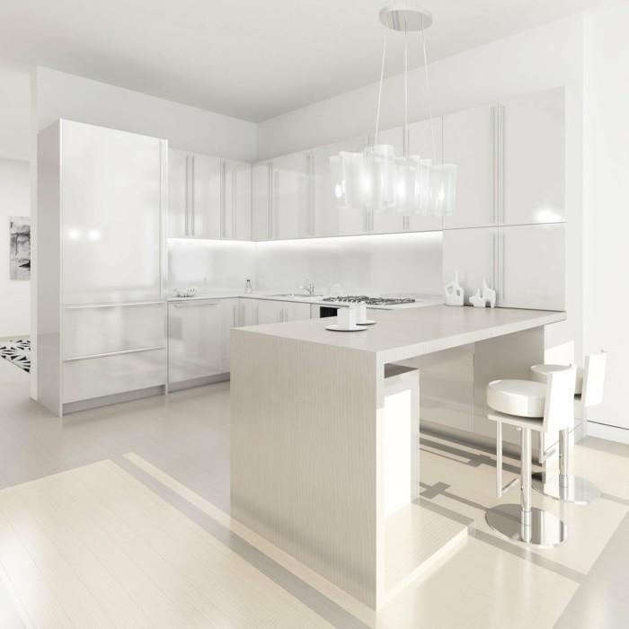 wohnideen küche weiße küche mit essecke