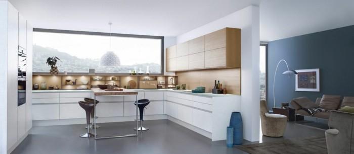 wohnideen küche weiße küche mit hölzernen elementen und offenen regalen