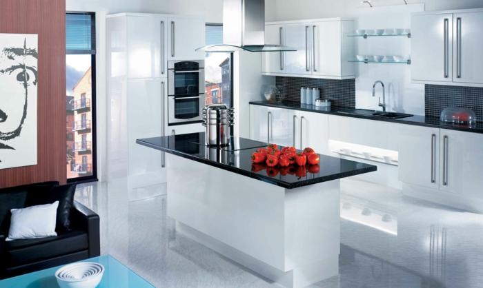 wohnideen küche weiße küche mit schwarzen akzenten und offener wohnplan