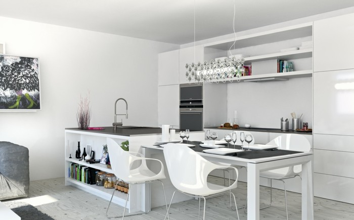 wohnideen küche weiße küchengestaltung mit ausgefallenem bodenbelag im offenen wohnplan
