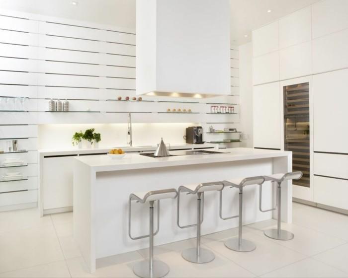 wohnideen küche weiße küchengestaltung mit viel stauraum