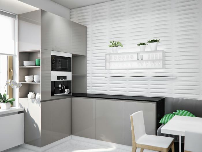 wohnideen küche weiße möbel und ausgefallene akzentwand in weiß mit schöner textur