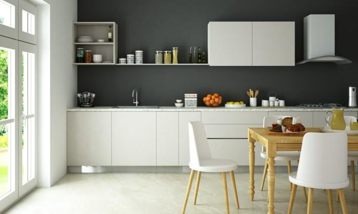 wohnideen küche weiße module und graue wand bilden einen schönen farbkontrast