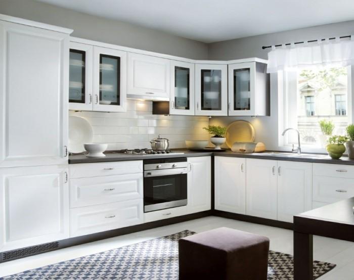 wohnideen küche winkelküche mit teppichläufer