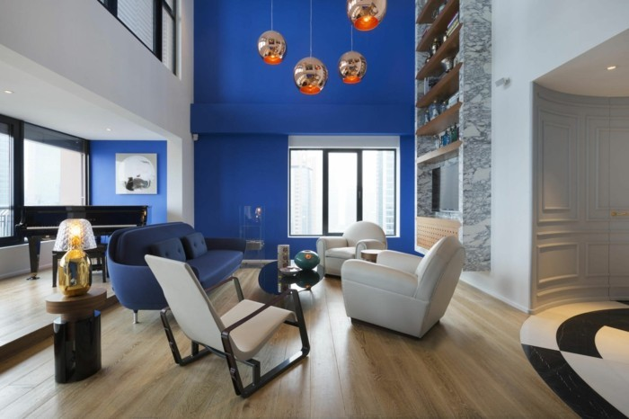 wohnideen wohnzimmer blaue wandfarbe bequeme wohnzimmermöbel