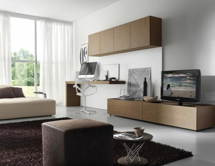 wohnideen wohnzimmer btaunnuancen und weiße gardinen