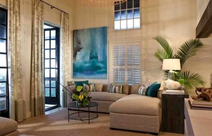 wohnideen wohnzimmer lange gardinen und pflanzendeko