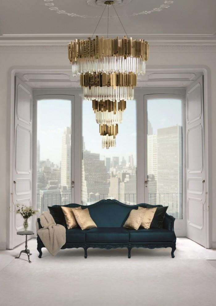 wohnideen wohnzimmer luxuriöser leuchter der einen starken eindruck macht
