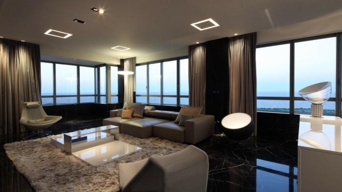 wohnideen wohnzimmer luxuriöses wohnzimmer mit ausgefallenem bodenbelag