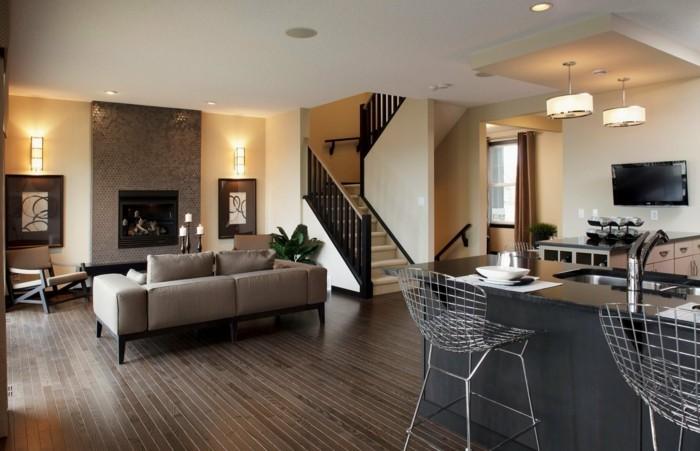 wohnideen wohnzimmer offener wohnplan und innentreppen