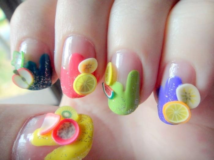 3d exotische früchte sommer nageldesign gelnägel