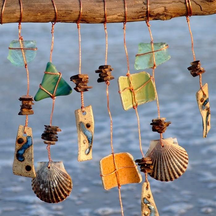 basteln mit muscheln sommerurlaub basteln mit naturmaterialien diy ideen windspiel