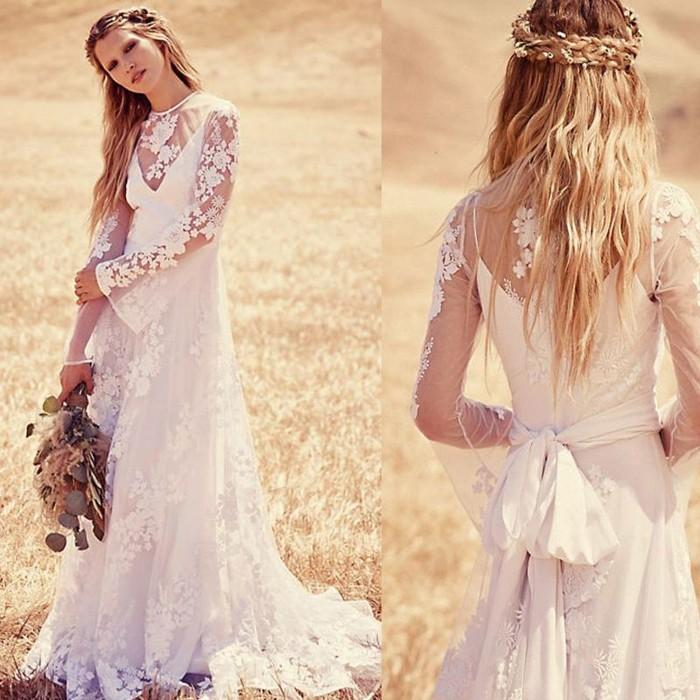 bohemian style hochzeitskleid mit spitze sommerhochzeit ideen