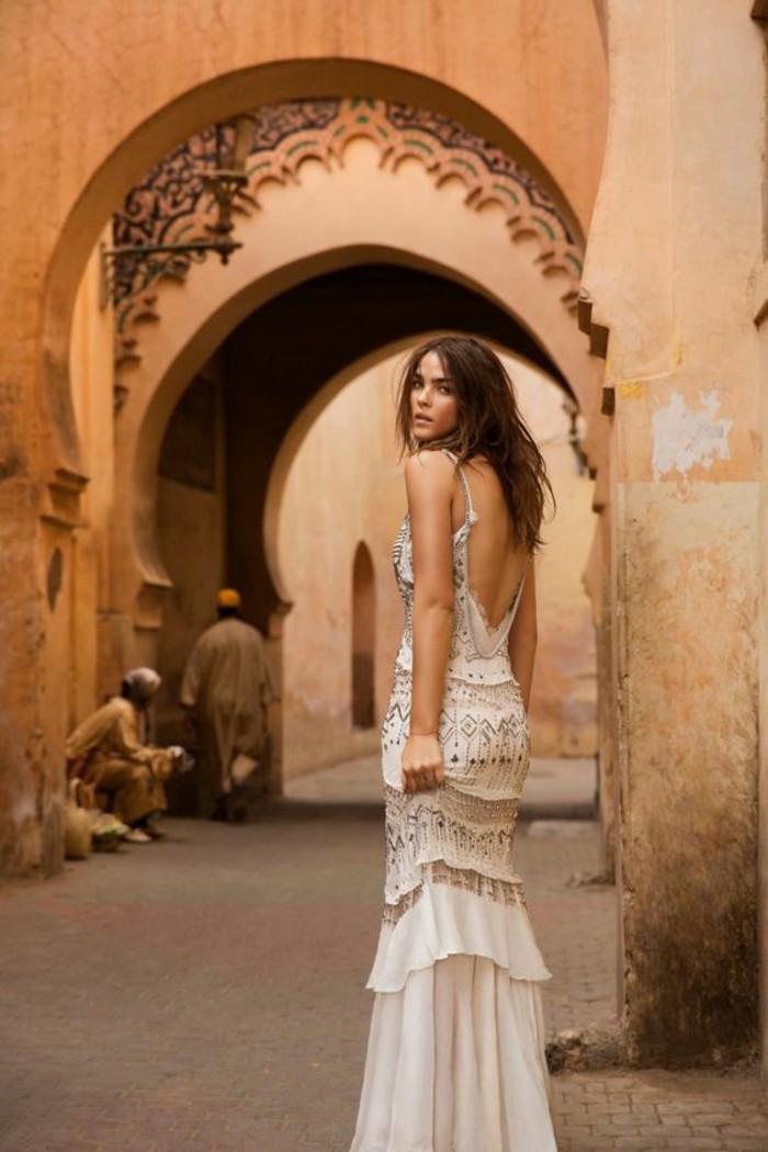 boho chic hochzeitskleid pailletten sommerhochzeitsideen