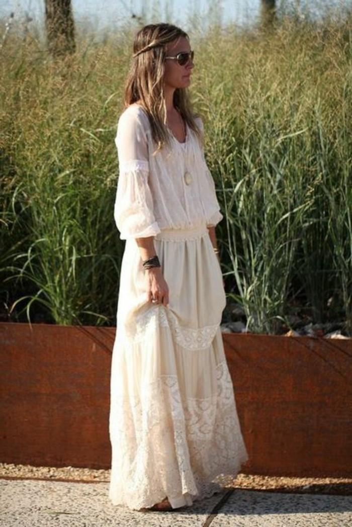 boho chic langes hochzeitskleid spitze tüll baumwolle