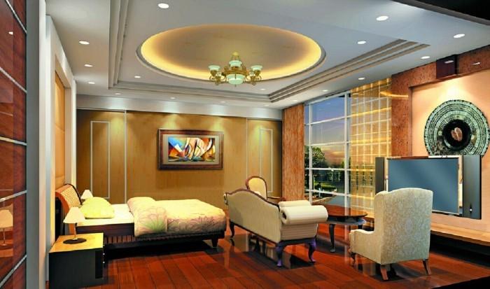 deckengestaltung abgehängte decke im luxuriösen schlafzimmer