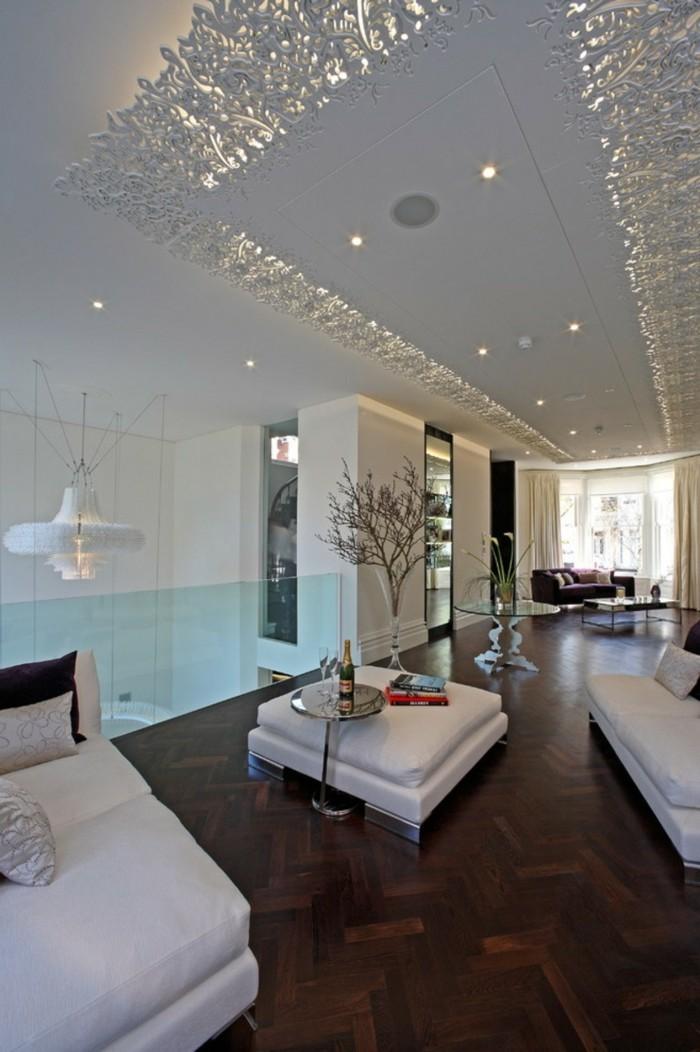 deckengestaltung ausgefallenes design und weiße möbel