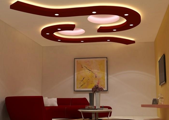 deckengestaltung dekoartive zimmerdecke im wohnzimmer gestalten