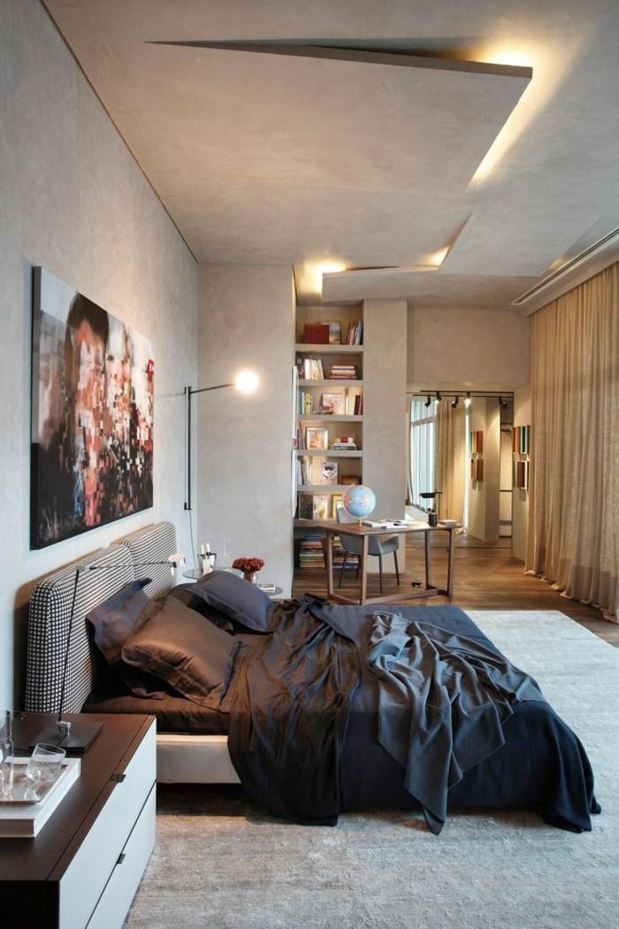 deckengestaltung im schlafzimmer ausgefallenes design mit herrlicher beleuchtung