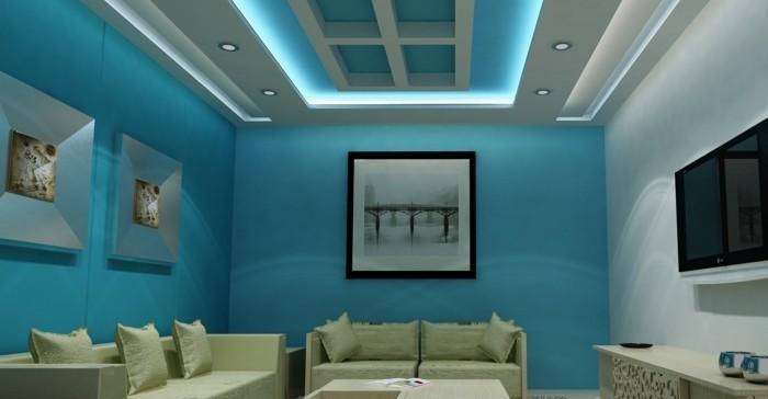 deckengestaltung im wohnzimmer ausgefallene beleuchtung und blaue wände