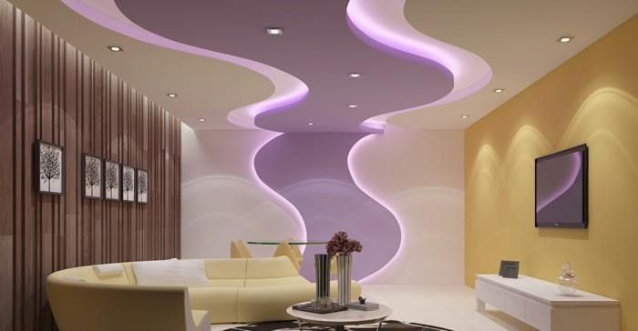 deckengestaltung im wohnzimmer led streifen in lila