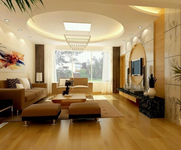 deckengestaltung im wohnzimmer mit led beleuchtung