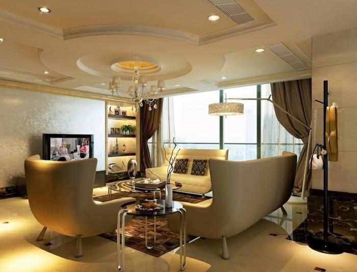 deckengestaltung im wohnzimmer schöne wohnideen uin beige und braun