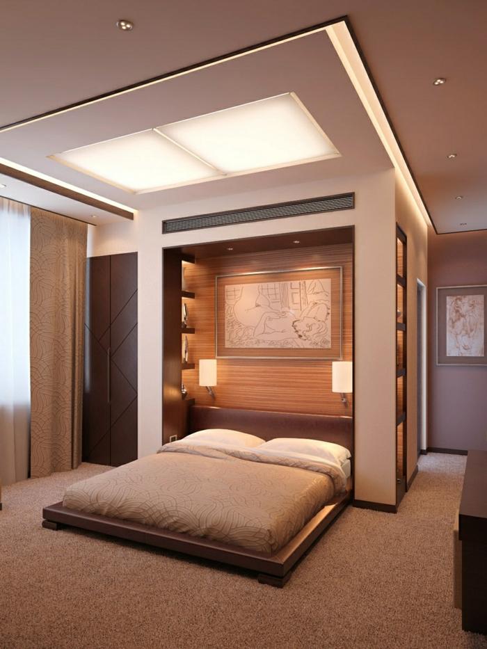 deckengestaltung moderne zimmerdecke die den schlafbereich absondert