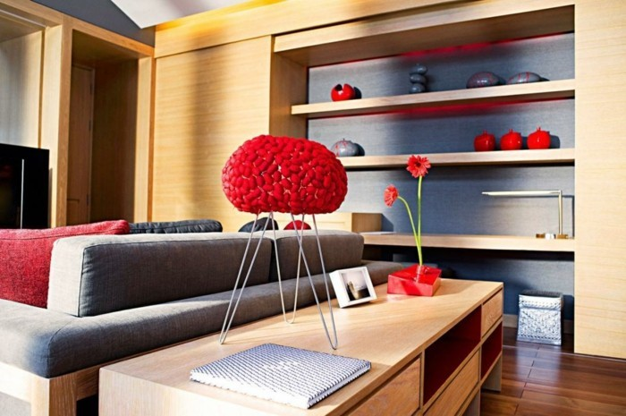 dekoideen wohnzimmer akzente in rot setzen