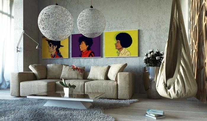 dekoideen wohnzimmer ausgefallene wanddeko mit tollen wandbildern