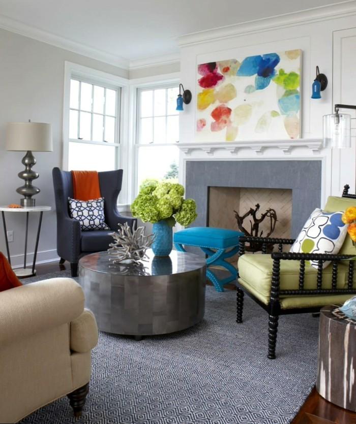 dekoideen wohnzimmer eklektischer wohnbereich mit frischen mustern