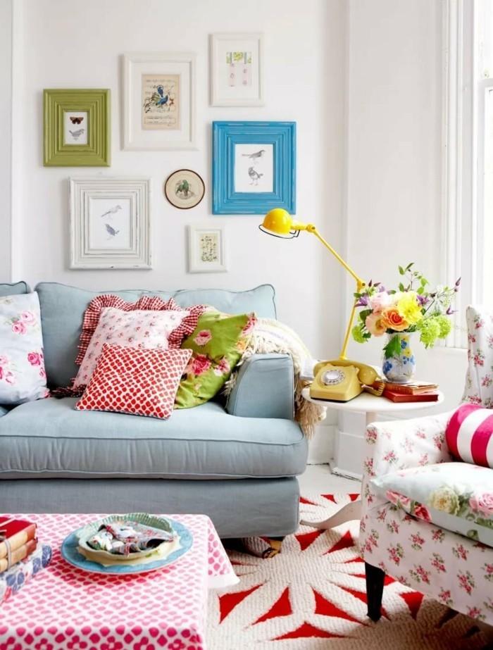 dekoideen wohnzimmer farbige akzente und frische stimmung