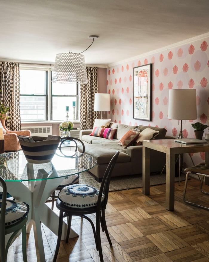 dekoideen wohnzimmer frische wandgestaltung und schönes gardinenmuster