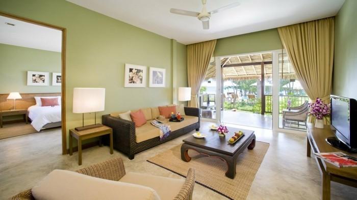 dekoideen wohnzimmer hellgrüne wände und minimalistische deko