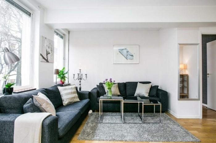 dekoideen wohnzimmer modrne wandgestaltung graue möbel und viele pflanzen