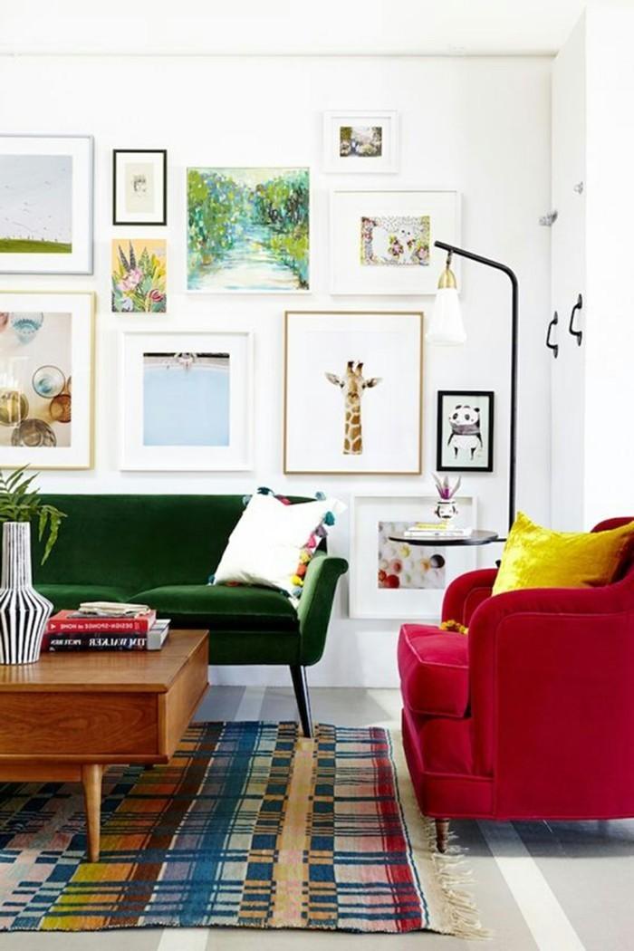 dekoideen wohnzimmer schönes wanddesign farbige möbel und cooler teppich
