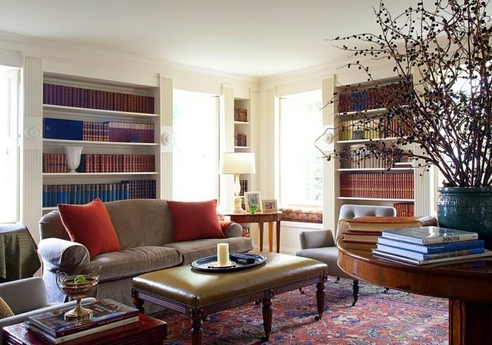 wohnideen wohnzimmer mit büchern den wohnbereich stilvoll dekorieren