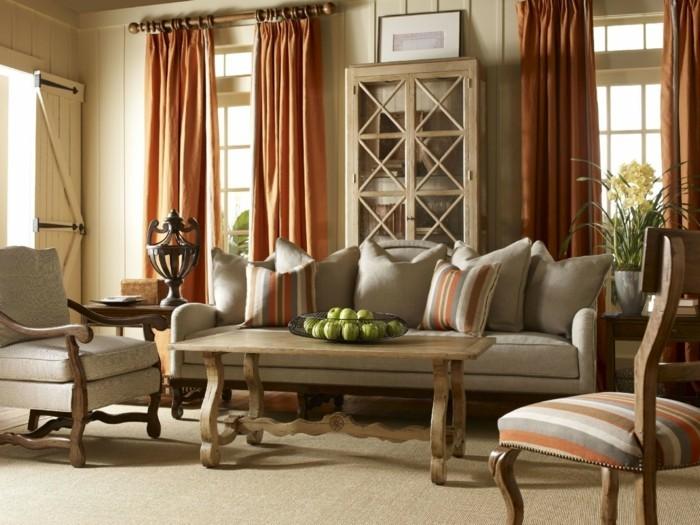 dekoideen wohnzimmer stilvolle gardinen und streifenmuster