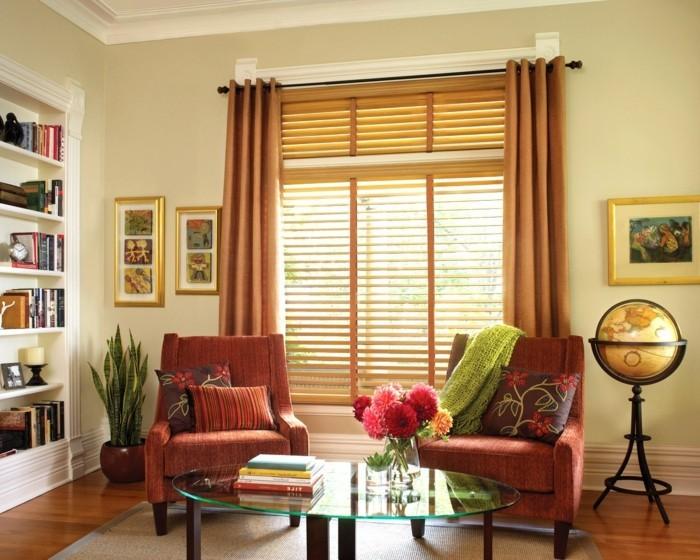 dekoideen wohnzimmer textilien und accessoires in warmen schattierungen