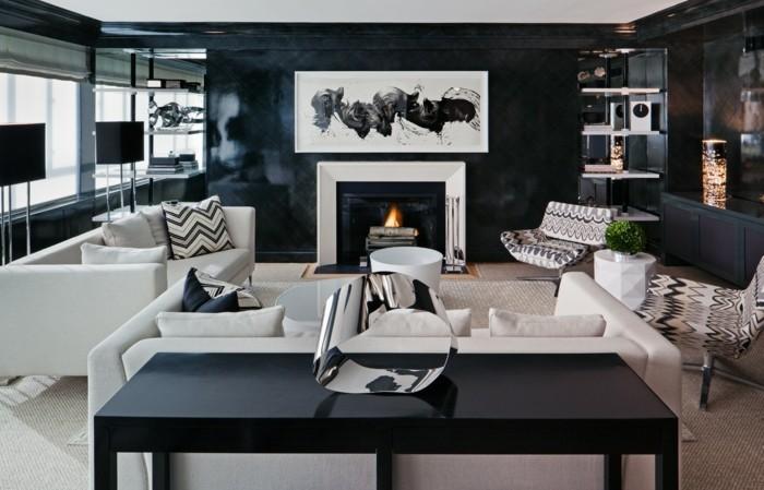 dekoideen wohnzimmer weiß schwarzes interieur mit kamin und stilvolle muster