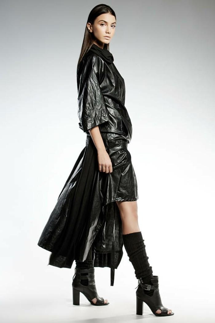 diva rock kunstleder schwarz extravagantes modedesign