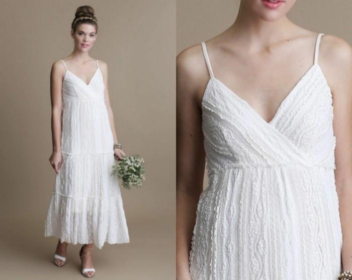 einfaches hochzeitskleid boho chic stil
