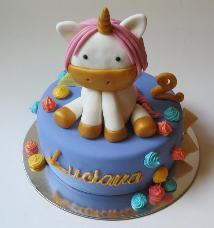 einhorn kuchen fondant sahne torte kindergeburtstag ideen