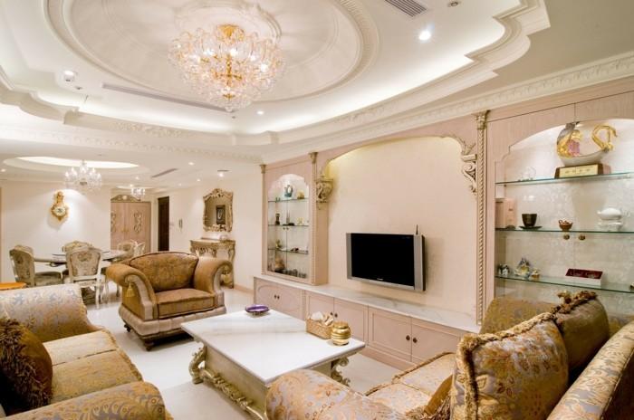 einrichtungsideen ausgefallene zimmerdecke mit kronleuchter im wohnzimmer