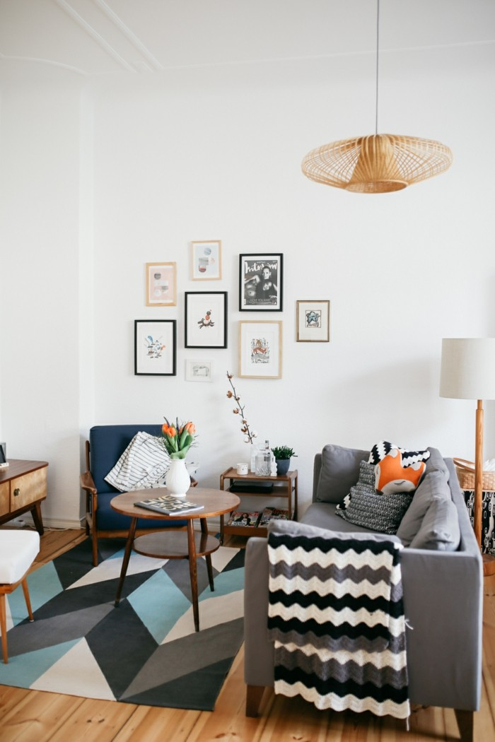 einrichtungsideen für das moderne wohnzimmer geometrische muster kombinieren
