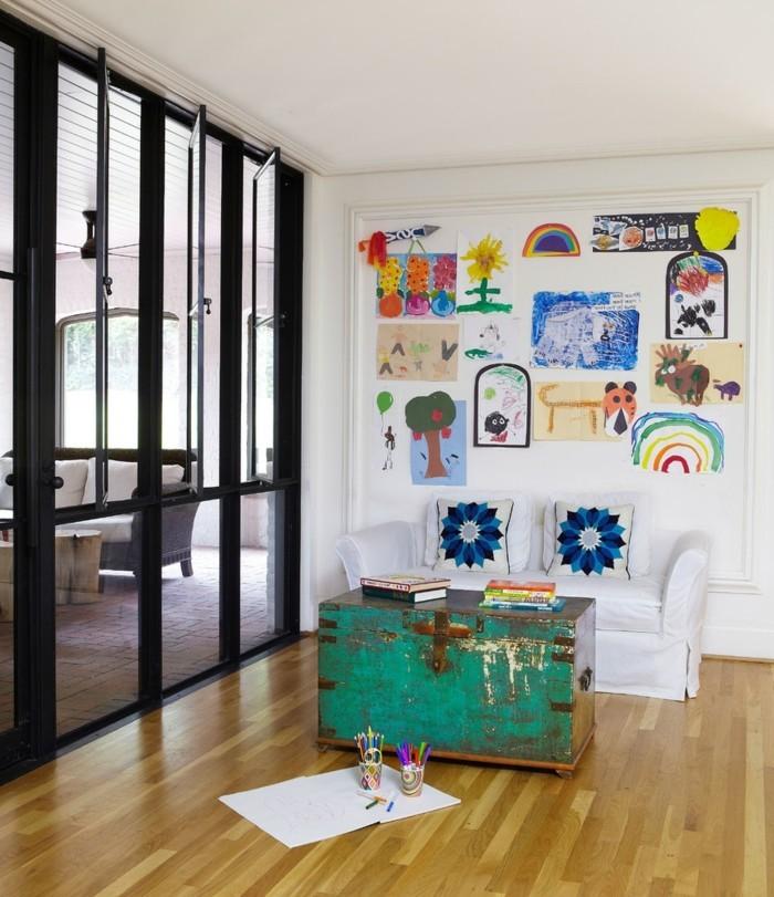 einrichtungsideen fürs wohnzimmer kinderzeichnungen verschönern die wohnzimmerwände