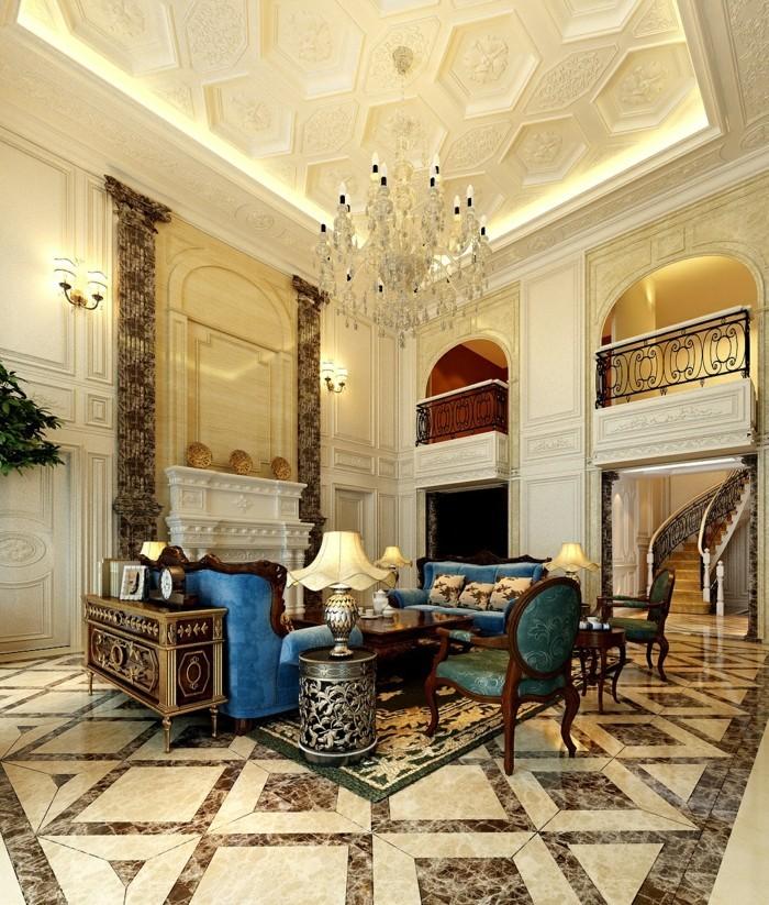einrichtungsideen luxuriöses wohnzimmer mit schicker decke