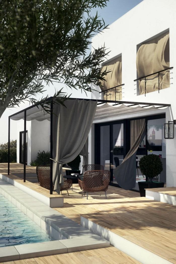 gartenideen moderne pergola mit gardinen für mehr komfort