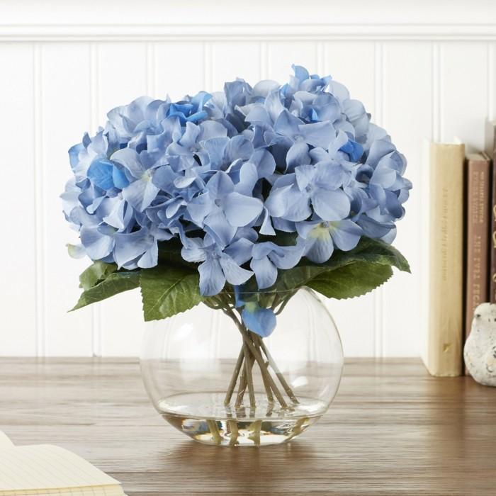gartenpflanzen baue hortensie in vase dekoriert den innenbereich